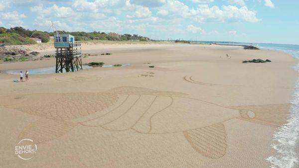 """Pierre-Louis Cuvillier, artiste de """"beach art"""" à Saint-Brévin-Les-Pins"""
