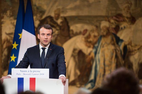 Emmanuel Macron lors des voeux à la presse le 3 janvier dernier.