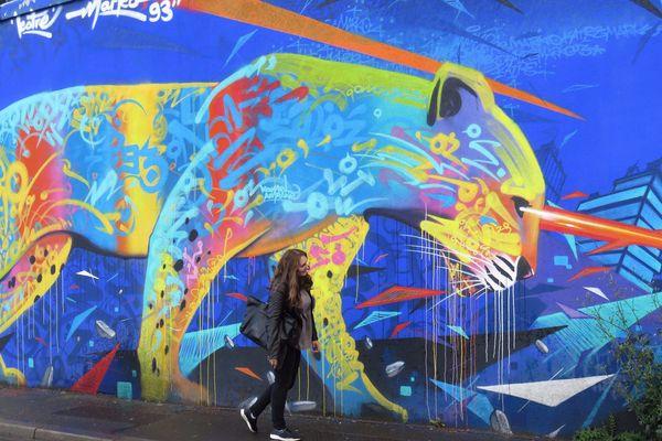 Un oeuvre de Marko 93 le long du canal Saint-Denis baptisée Street Art Avenue.