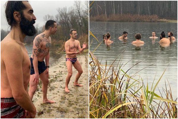 Le maillot de bain est le seul habit qui peut un minimum réchauffer lors de ce bain glacé.