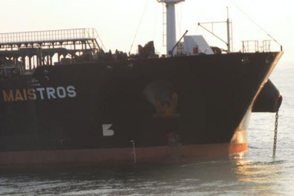 """Le pétrolier """"Maistros"""" a percuté un autre navire au large d'Ostende en Mer du Nord."""