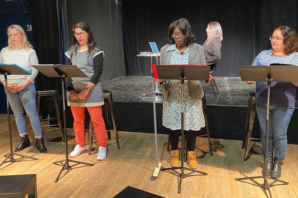 Montpellier - Théâtre Jean Vilar : Véronique, Bouchra, Eliane et Amina lors d'une répétition de la pièce - 06.03.20