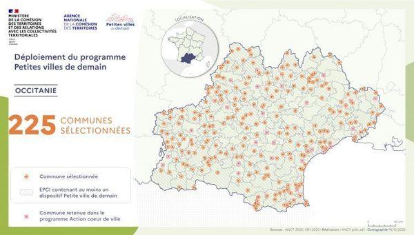 225 villes d'Occitanie sélectionnées  pour devenir les petites villes de demain.