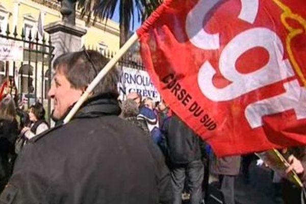 Manifestation syndicale à Ajaccio, le 29 février 2014