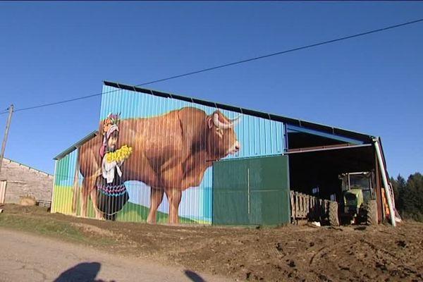 Bâtiment agricole peint par Mako Moya à Saint-Pierre-Chérignat