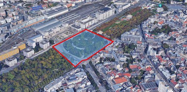 Délimitation de la zone envisagée par l'accord entre forains et ville de Reims.