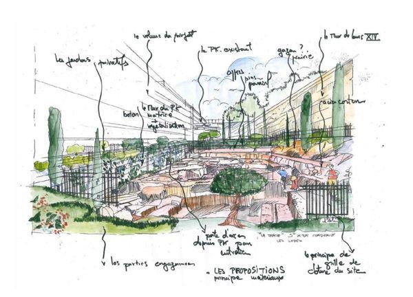 Esquisse du projet d'aménagement de l'architecte Daniel Deluy