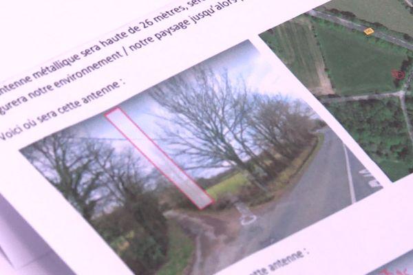 Le dossier de présentation du projet d'installation d'une antenne relais à Orvault, au croisement entre le chemin des poiriers et la route départementale 42.