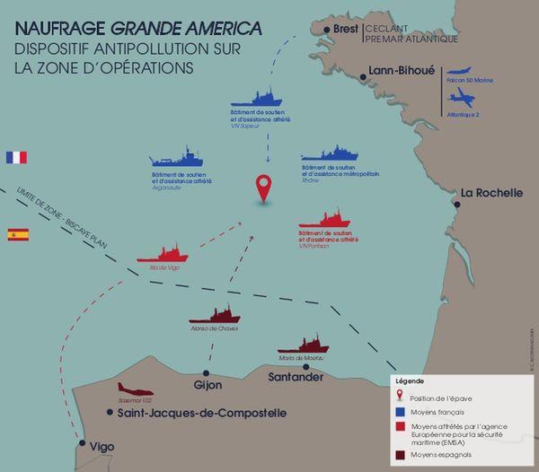 Dispositif antipollution sur la zone du naufrage du Grande America