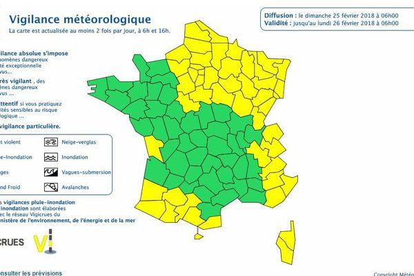 Vigilance jaune dans trois départements de la région