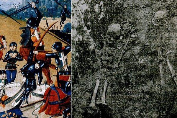Les squelettes de quatre chevaliers morts lors de la bataille d'Azincourt (1415) découverts en 1936 dans l'abbatiale d'Auchy-lès-Hesdin.