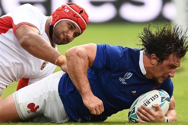 Camille Chat (à droite) lors du match France-Tonga dimanche 6 octobre 2019 lors de la Coupe du monde de rugby au Japon