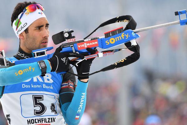Martin Fourcade aux Mondiaux de biathlon d'Hochfilzen en Autriche. 18/02/2017