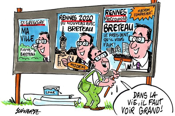 Pierre Breteau candidat à la mairie de Rennes, le dessin de Loic Schwartz