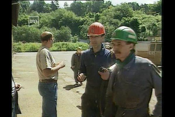 Les derniers mineurs de fer français à la mine des Terres Rouges à Audun-le-Tiche, le 30 juillet 1997.