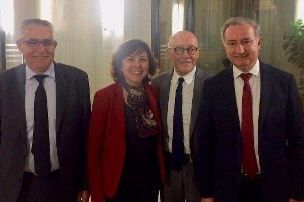 """Carole Delga, Jean-Luc Moudenc, Jean-Marc Pujol, Jean-Louis Chauzy ont été auditionnés par le Conseil d'orientation des infrastructures. """"Il est temps que les choses bougent. Il est temps que tous les Français soient considérés égaux en droit d'accéder à la grande vitesse ferroviaire ! »"""