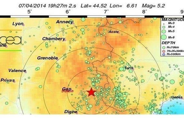 Le séisme de magnitude 5 s'est produit dans la vallée de l'Ubaye à proximité de Crévoux (Alpes de Haute-Provence) et de Barcelonnette (Hautes-Alpes).