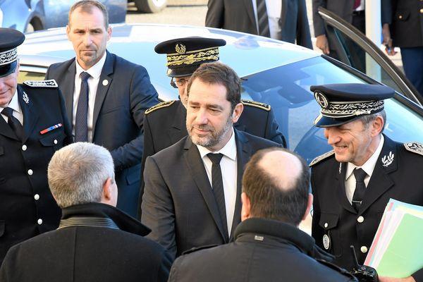 Arrivée de Cristophe Castaner, ministre de l'intérieur à l'hôtel de Police de Montpellier le 4 février 2019