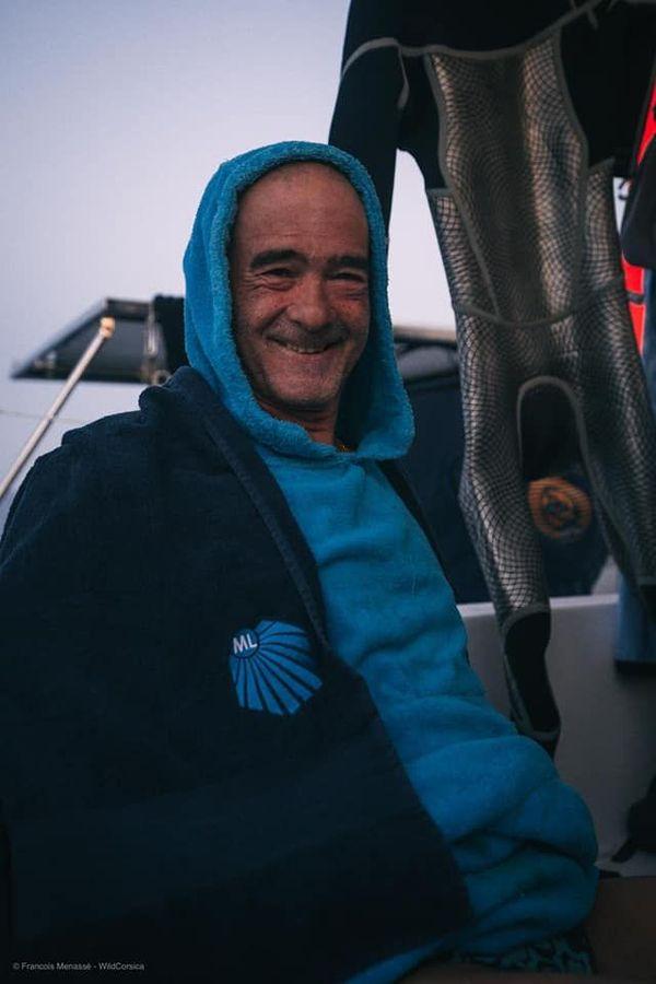 Thierry Corbalan, lors d'une moment de pause durant sa traversée entre Calvi et Mandelieu-la-Napoule