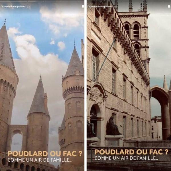 """À gauche, le château de Poudlard dans les films """"Harry Potter"""". À droite, le bâtiment historique de la faculté de médecine de Montpellier."""