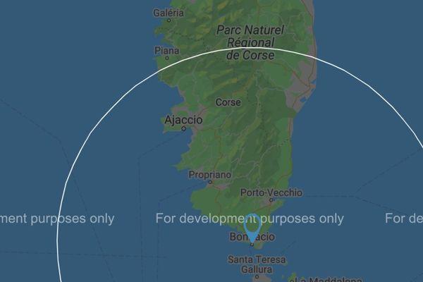 Le rayon de 100 km autour de Bonifacio