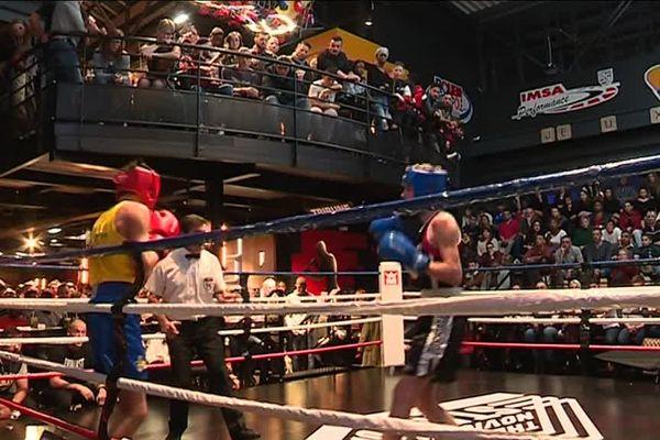 """Rouen- 10 novembre 2018- Combat de boxe sur le ring du """"The Novick's Stadium"""" lors des championnats de Normandie de boxe"""