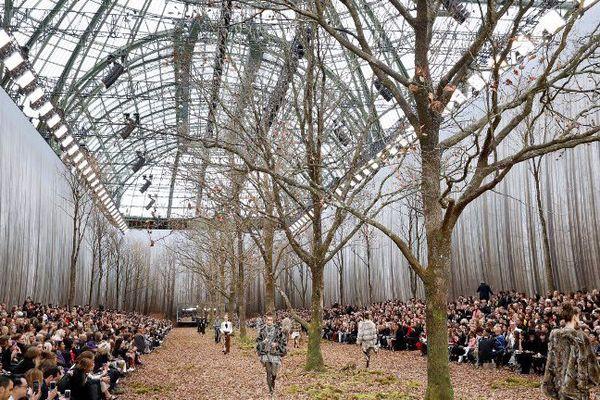 """Un décor de défilé """"100% forêt"""" imaginé par Karl Lagerfeld créé la polémique. Les arbres coupés viennent d'une forêt du Perche dans l'Orne."""