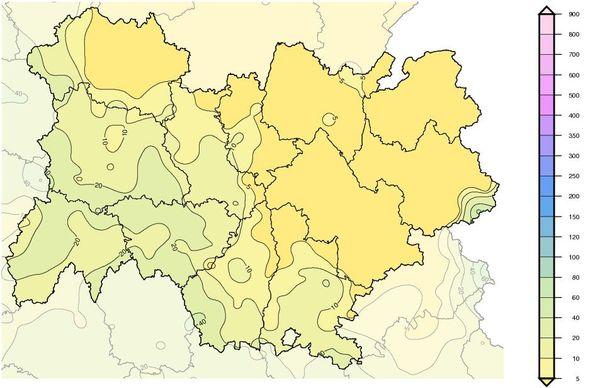 AURA Cumul mensuel de précipitations Avril 2020 eu Auvergne Rhône-Alpes