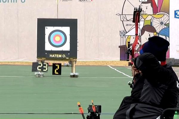 Olivier Hatem aux championnats d'Europe de tir à l'arc handisport à Saint-Jean-de-Monts, en avril 2016.