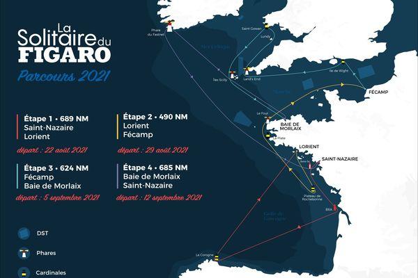 Un parcours de 2500 miles soit 4630 km avec deux étapes côtières et deux étapes de grand large, c'est l'édition 2021