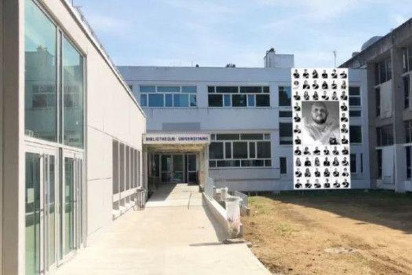 L'hommage à Dylan Douget au pôle étudiant de la fac de Nantes, dans le cadre du projet InsideOut de JR, maquette de l'oeuvre
