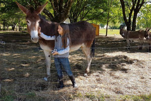 """Loléa, 9 ans, la fille du couple d'exploitants, joue aux guides touristiques, en attendant de travailler dans cette ferme """"quand elle sera plus grande"""""""