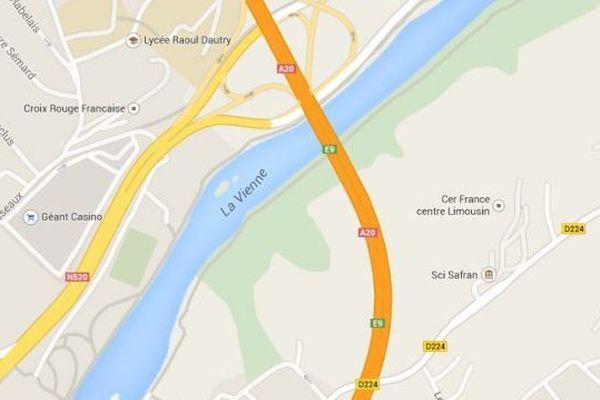 Zone où un véhicule a circulé à contre sens sur l'autouroute A 20, 15 octobre 2014