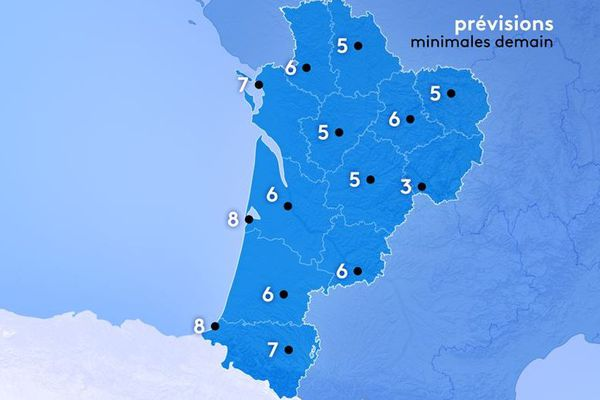 Météo France prévoit de 3 à 8° au lever du jour