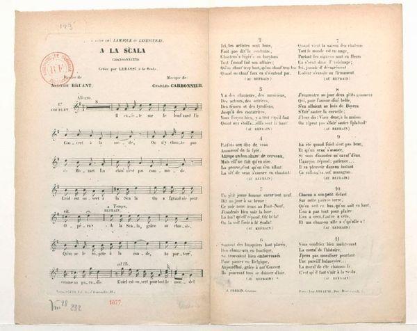 """Partition de """"à la Scala"""" : paroles : Aristide Bruant ; musique Carbonnier, Charles"""