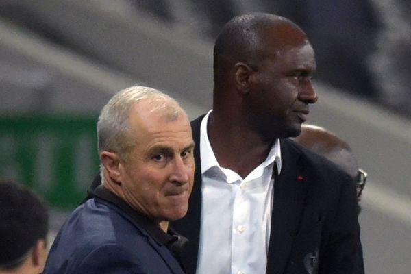 Alain Casanova et Patrick Vieira, respectivement entraîneurs de Toulouse et de l'OGC Nice.