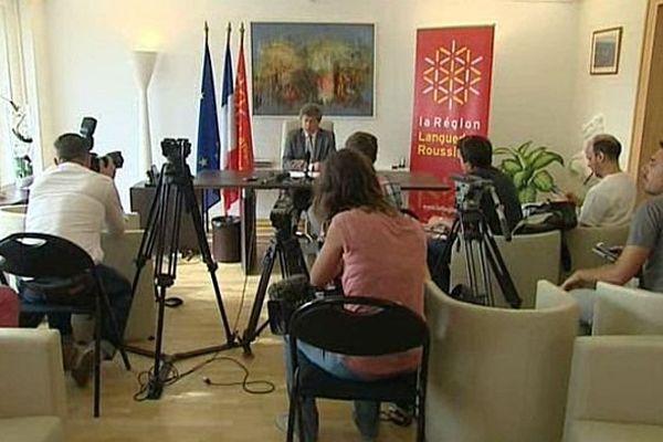 Montpellier - Damien Alary, président PS de la région Languedoc-Roussillon lors de la conférence de presse - 30 juillet 2015.