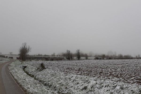 De la neige dans l'Avesnois ce 31 décembre 2020.