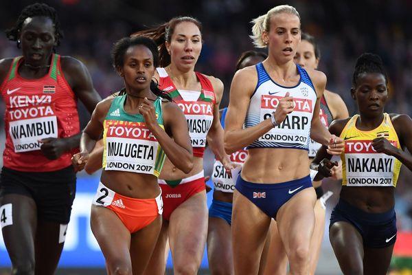 L'ougandaise Halima Nakaayi (en jaune, à droite), ici au championnats du Monde à Londres en 2017, est l'une des vedettes internationales de l'Athlélor 2020 à Metz. Alignée sur 800 mètres, elle a été sacrée championne du monde de la discipline à Doha en 2019.