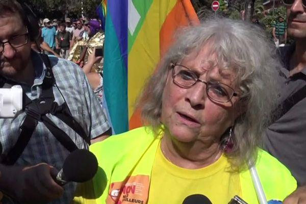 Geneviève Legay, militante d'Attac 06 interviewée lors d'une manifestation contre le G7.