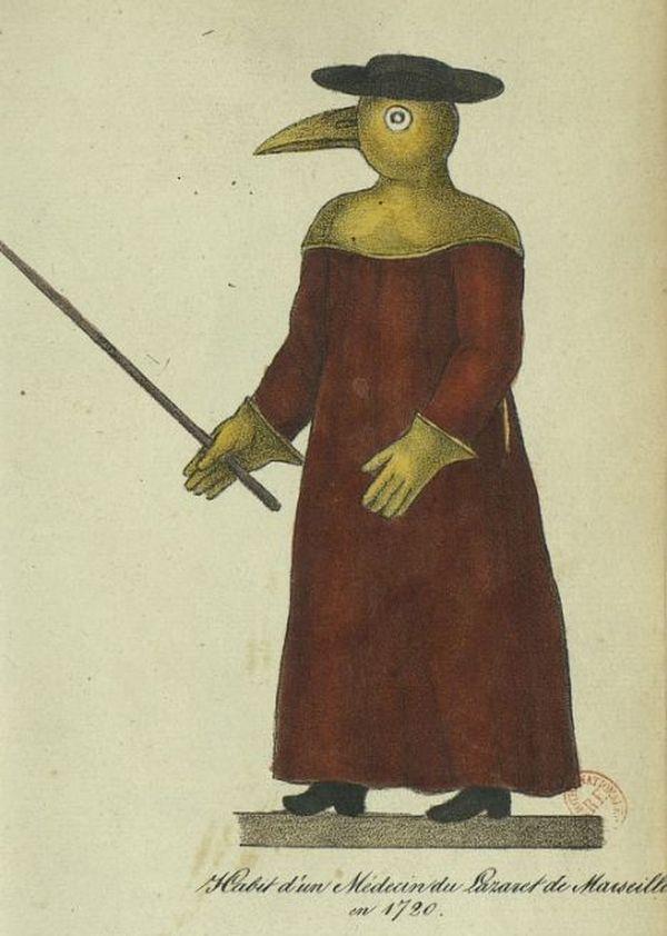 Le célèbre « masque à bec de canard » est imaginé par Charles de Lorme au 17e siècle afin de protéger les médecins de peste de la contagion aérienne.