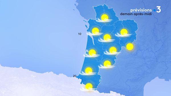 Le temps sera ensoleillé demain après-midi mais dans un ciel voilé...