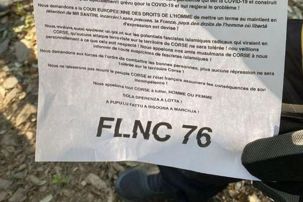 Dans un communiqué un groupuscule se réclamant du FLNC 76 réclame des comptes à l'État quant à la gestion de l'épidémie de Covid dans l'île.