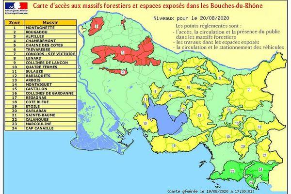 Quatre massifs interdits d'accès dans les Bouches-du-Rhône.