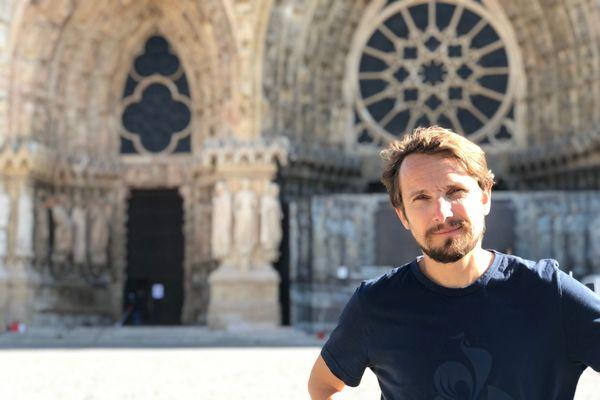 Ce mercredi, le comédien Lorànt Deutsch a fait étape à Reims pour tourner une vidéo consacrée au patrimoine de la Cité des Sacres