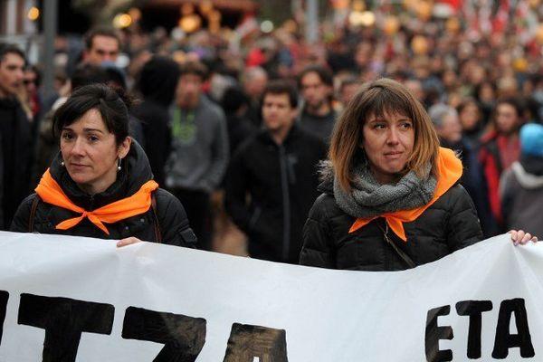 Manifestation à St jean Pied de Port en soutien à Intza Oxandabaratz, Aurore Martin et Haizpea Abrizketa le 17 janvier 2015.