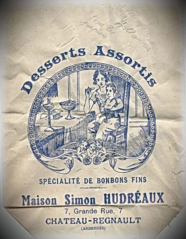 Sachet de bonbon en 1930 de Lucie et Jean Simon, spécialistes de desserts assortis, de bonbons fins et confiseurs.