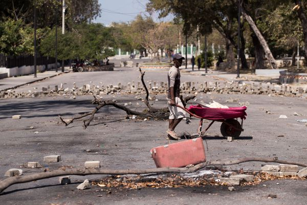 Barricades à Port-au-Prince (Haïti) en février 2021. l'insécurité et les kidnappings sont montés en flèche ces derniers mois
