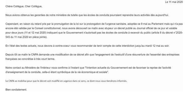 email du Conseil National des Professions de l'Automobile en date du 11 mai 2020.
