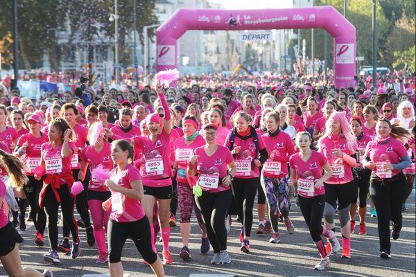 L'épreuve de course à pied et de marche la Strasbourgeoise a rassemblé 11700 participantes dans cette action de sensibilisation contre le cancer du sein.